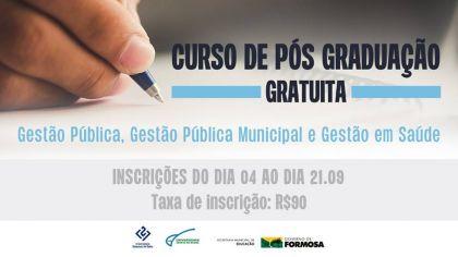 Notícias de Formosa - Com o apoio da Prefeitura de Formosa, universidades abrem inscrição para cursos gratuitos de pós-graduação em Gestão Pública