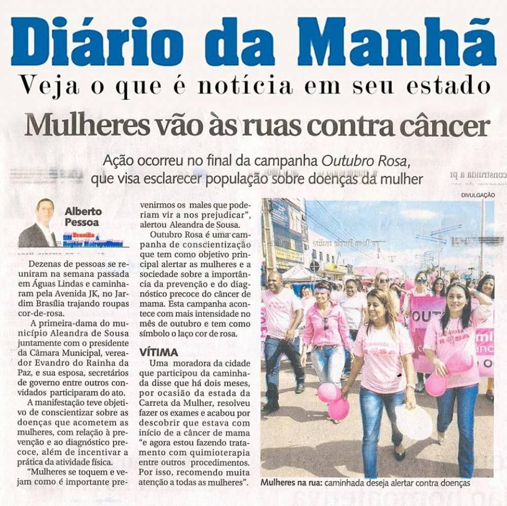 Mulheres de Águas Lindas de Goiás vão ás ruas contra o câncer
