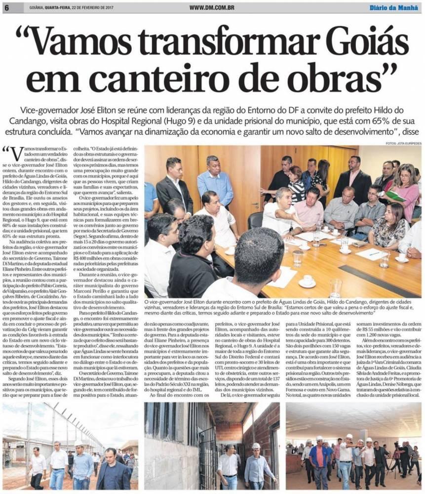 Prefeito Hildo do Candango de Águas Lindas de Goiás, quer transformar Goiás em um Canteiro de Obras