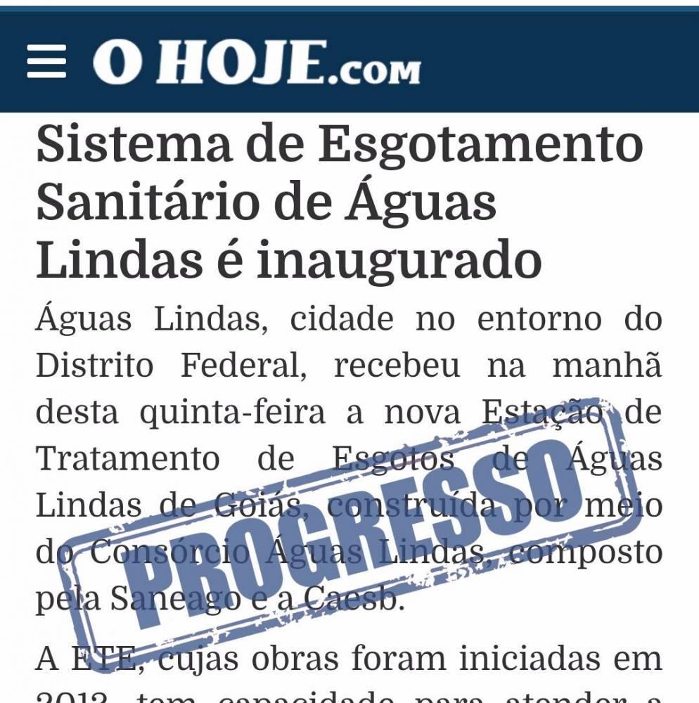 Prefeito Hildo do Candango de Águas Lindas de Goiás inaugura novo sistema de esgoto no entorno de Brasilia