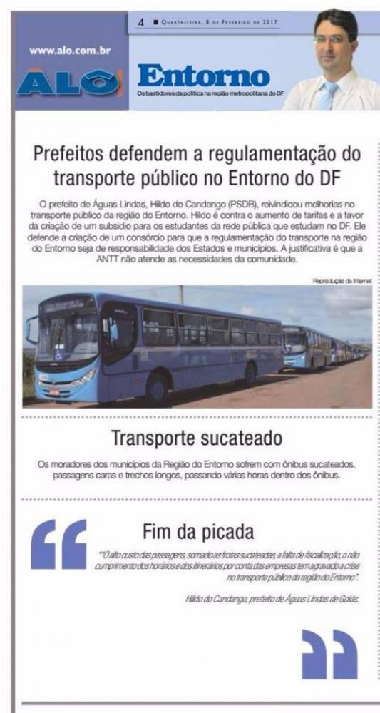 Prefeito Hildo do Candango de Águas Lindas de Goiás defendo novo sistema de transporte para o Entorno de Brasília