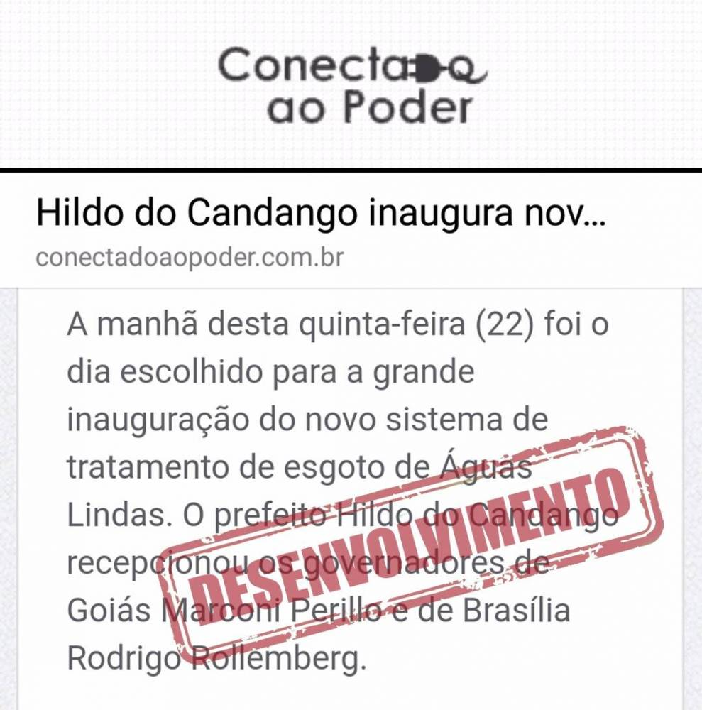 Hildo do Candango Inaugura novo sistema de Esgoto de Águas Lindas de Goiás entorno de Brasília.