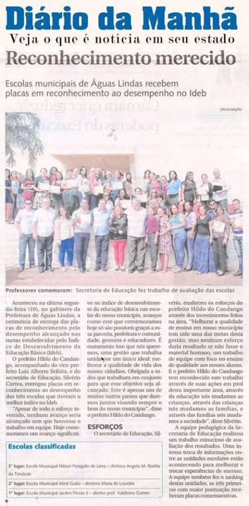 Prefeito de Águas Lindas de Goiás, Hildo do Candango parabeniza escola que se destacou no ideb